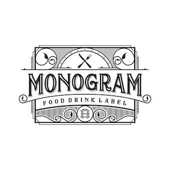Comida e bebida design de logotipo para etiqueta de marca