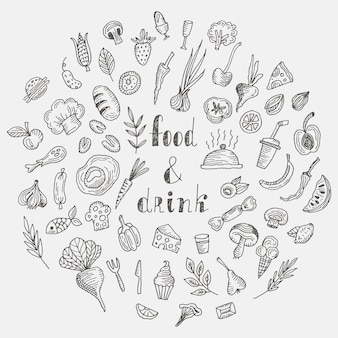 Comida e bebida doodle conjunto