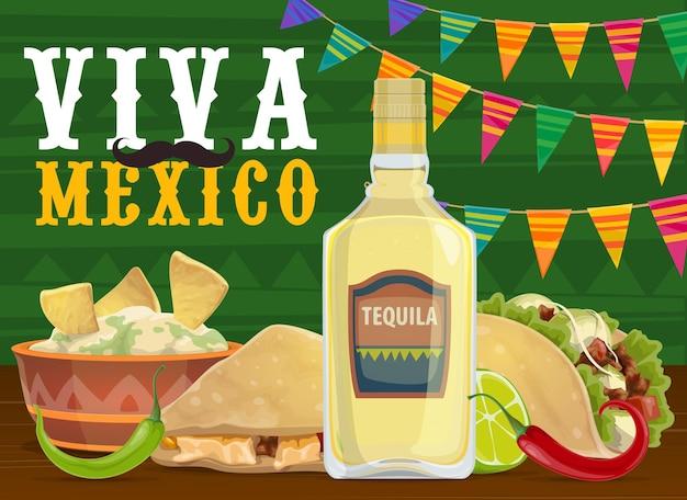 Comida e bebida para festa de fiesta mexicana, design viva mexico