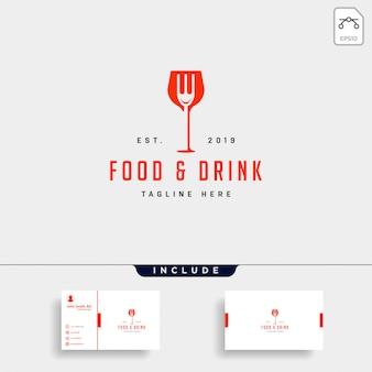 Comida e bebida simples plana logotipo ilustração ícone elemento