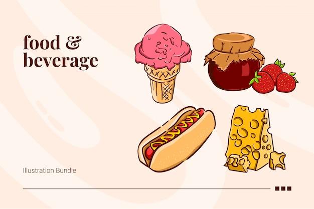 Comida e bebida, sorvete, geléia, cachorro-quente e queijo