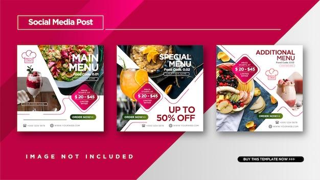 Comida e culinária instagram post para modelo de promoção de mídia social.