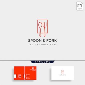 Comida equipamentos colher garfo logotipo modelo ilustração elemento de ícone