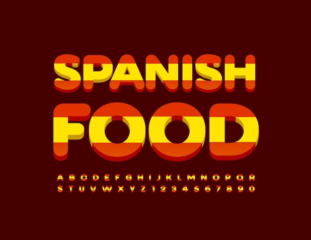 Comida espanhola brilhante. letras do alfabeto e números com a bandeira da espanha. fonte moderna criativa