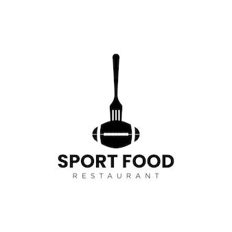 Comida esportiva vintage com design de logotipo de bola e garfo