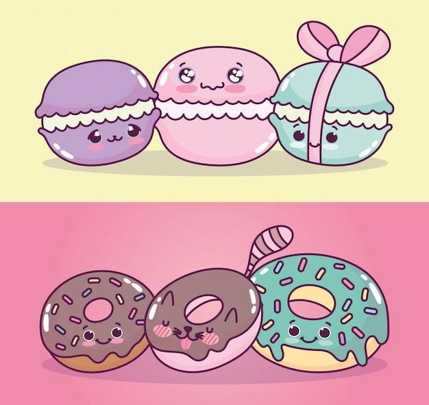 Comida fofa adorável macaroons e donuts doce sobremesa pastelaria dos desenhos animados