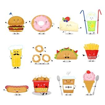 Comida fofa com fast food gostoso, sobremesa doce, padaria e rosquinha com o rosto no fast food cômico de refeição isolado no branco.