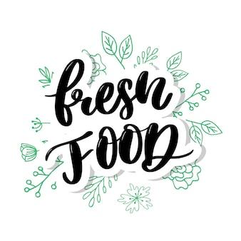 Comida fresca letras caligrafia carimbo de borracha verde