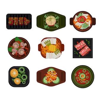Comida ilustração comida coreana vector