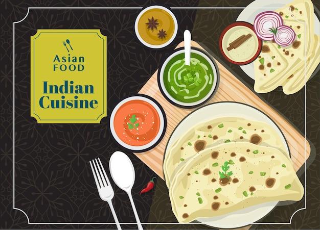Comida indiana kulcha, pão indiano kulcha, ilustração vetorial