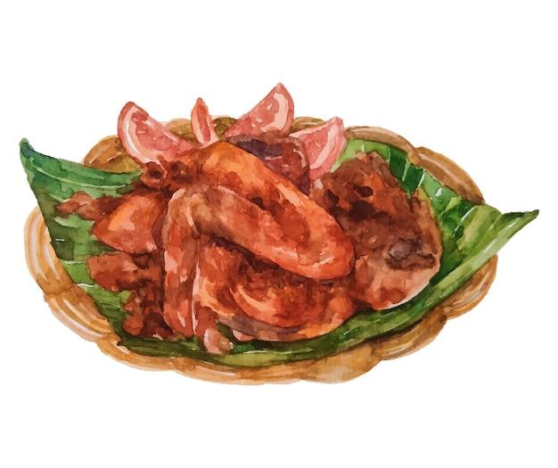 Comida indonésia de frango frito em aquarela