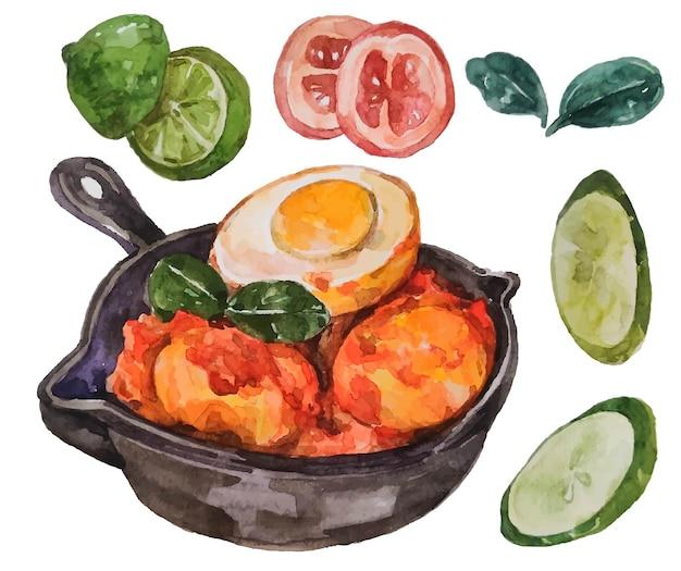 Comida indonésio balado telur em aquarela