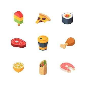 Comida isométrica. sushi refeição pão fruta peixe baixo poli site ícones