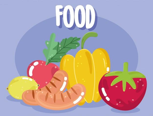 Comida jantar menu salsichas frescas tomate pimenta rabanete e ilustração de limão