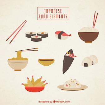 Comida japonesa com elementos planos