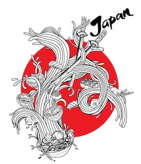 Comida japonesa de coleção desenhados à mão em macarrão