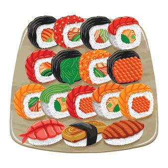 Comida japonesa de sushi em estilo design plano