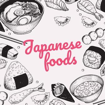 Comida japonesa doodle handdrawn