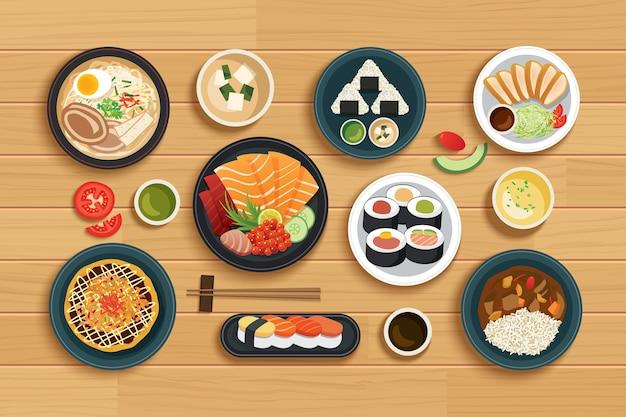 Comida japonesa em fundo de madeira de vista superior.