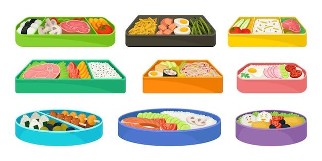 Comida japonesa em lancheiras em fundo branco.