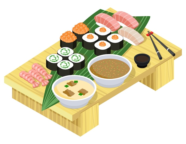 Comida japonesa em vista isométrica. sushi e rolos no carrinho de madeira.