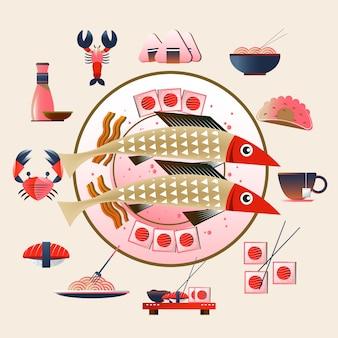 Comida japonesa, ilustração