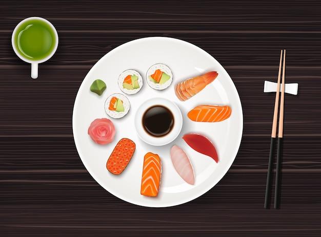 Comida japonesa no fundo da mesa de madeira escura