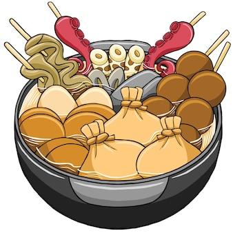 Comida japonesa oden em estilo design plano