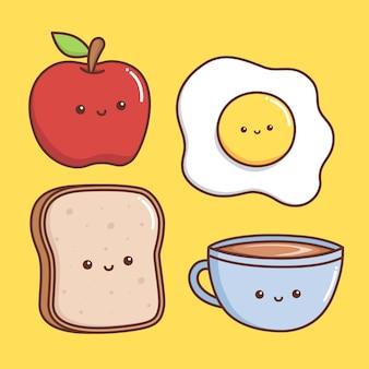 Comida kawaii para o café da manhã em amarelo