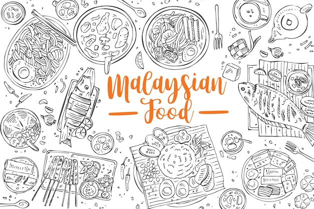 Comida malaia desenhada à mão, vista superior de fundo de comida asiática,