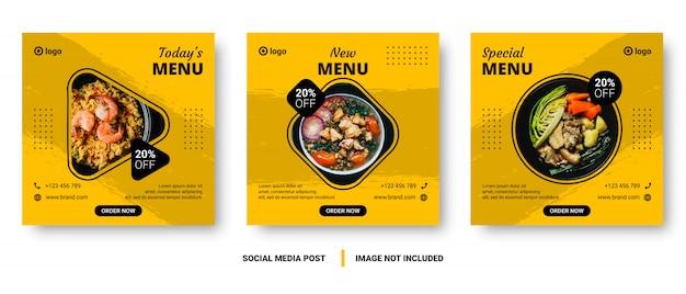 Comida menu banner mídia social post.