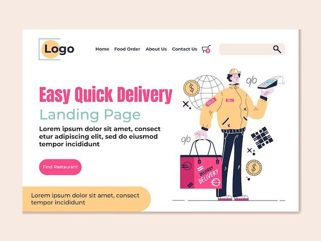 Comida mercearia entrega rápida vetor estilo moderno design página de destino plana