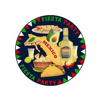 Comida mexicana, bebida e mapa do méxico, festa de fiesta