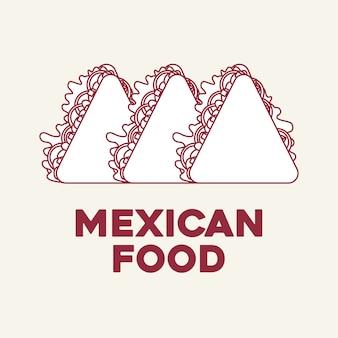 Comida mexicana com ícone de quesadilla sobre fundo branco, design colorido. ilustração vetorial