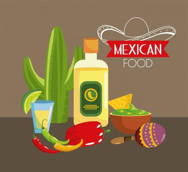 Comida mexicana com pimenta e tequila