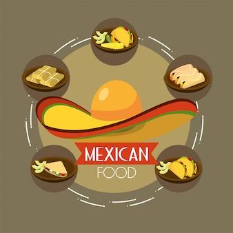 Comida mexicana com tacos picantes e abacate