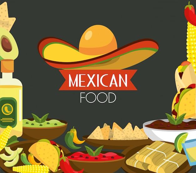 Comida mexicana com tequila e molhos tradicionais