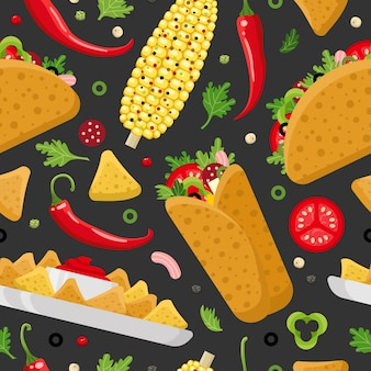 Comida mexicana cor vetor sem costura padrão