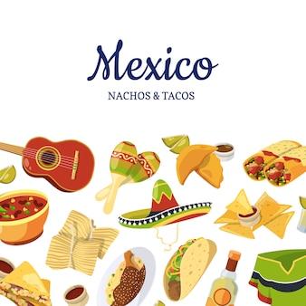Comida mexicana de desenhos animados com ilustração copyspace
