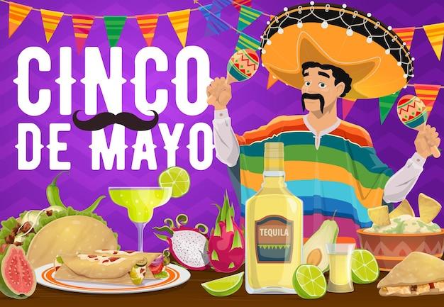 Comida mexicana de feriado do cinco de mayo e design mariachi