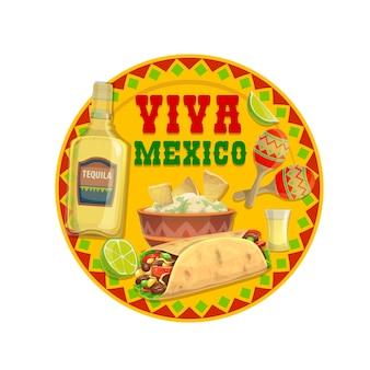 Comida mexicana e bebida tequila, viva mexico. guacamole de abacate com sanduíche embrulhado em burrito e nachos de tortilla de milho, maracas, garrafa e copo de bebida alcoólica de agave com limão