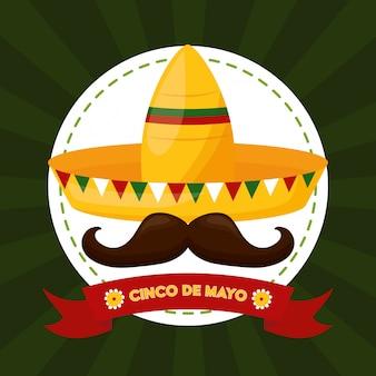 Comida mexicana e bigode, ilustração de cinco de maio, méxico