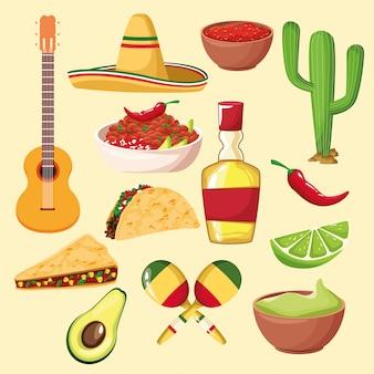 Comida mexicana e elementos