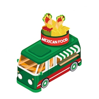 Comida mexicana isométrica food truck vehicle illustration