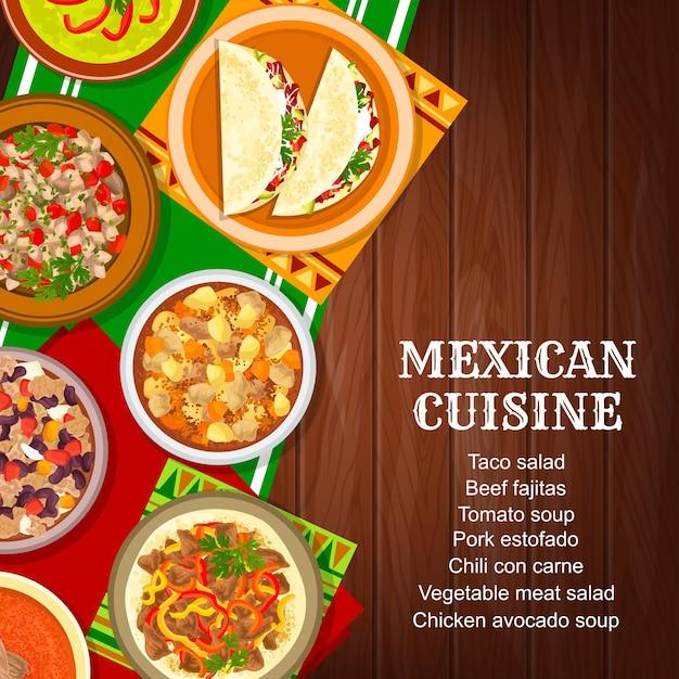 Comida mexicana, pratos da culinária do restaurante menu capa