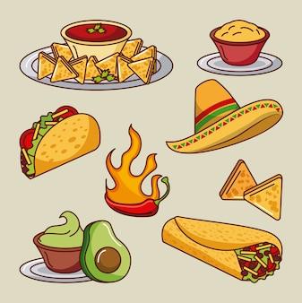 Comida mexicana set icons menu ingredients picante