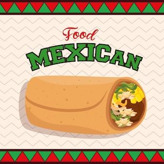 Comida mexicana taco cartaz ilustração vetorial design