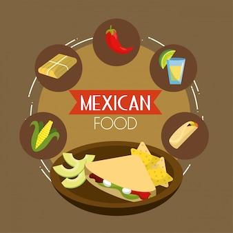Comida mexicana tacos com pimenta e sabugo