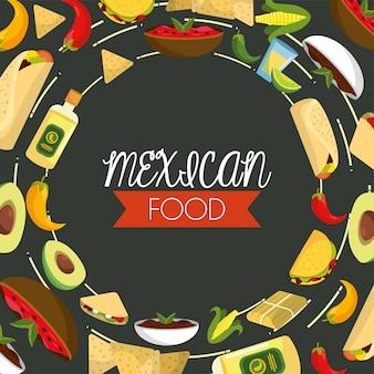 Comida mexicana tradicional com molhos picantes e tequila