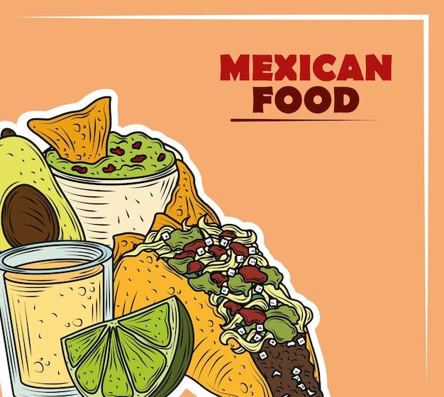 Comida mexicana tradicional guacamole tequila e taco vintage cor gravada